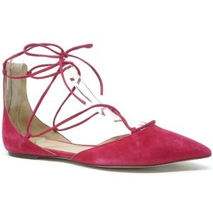 J Crew Lace-Up Pointed-Toe Flats Size 6.5 Pink